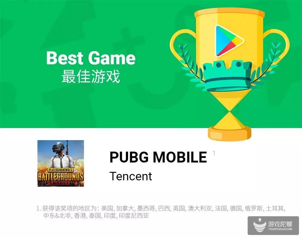 "《PUBG MOBILE》获15个地区""最佳游戏""奖项|""Google Play 2018 年度大赏"""