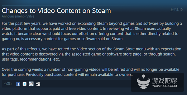 V社宣布下架Steam商店中非游戏类视频内容