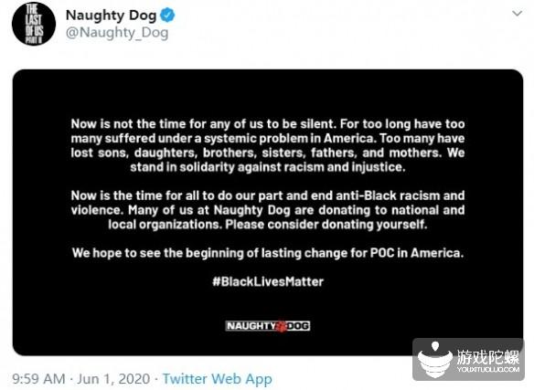 顽皮狗、B社等多家公司支持黑人权益