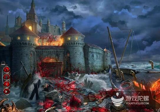 一幅典型的休闲冒险游戏画面,大多都有精彩的2D手绘,黑暗又神秘