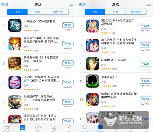 2016年春节iOS榜单观察:《全民飞机大战》一度登顶畅销,出现多款擦边球产品