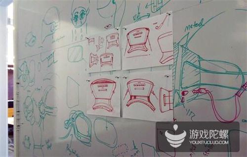 HTC 设计办公室内的白板,画满了原型机的构思