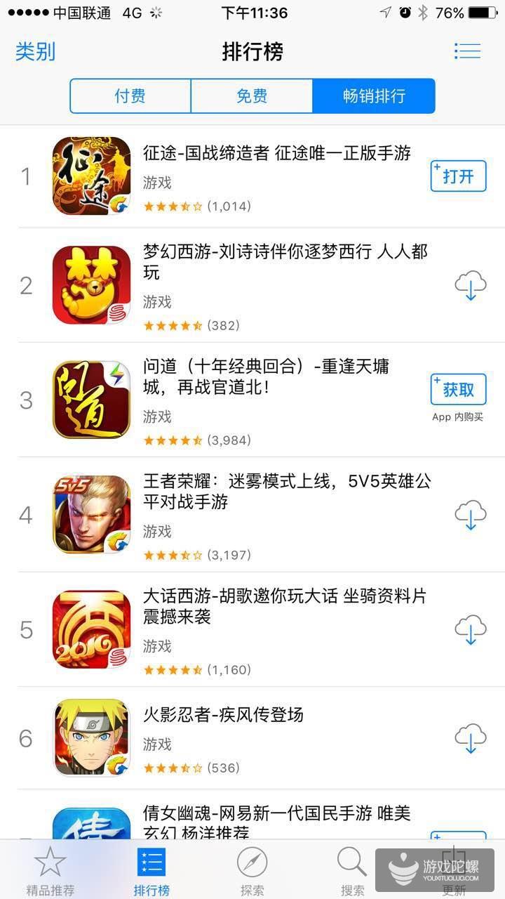 不限号测试11天 征途手机版登顶Appstore畅销榜首